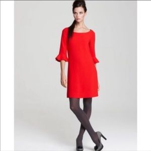 Kate Spade Red Bell Sleeve Wool Blend Shift Dress